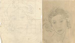 Two sketces of the same face, one larger on tracing paper with grid